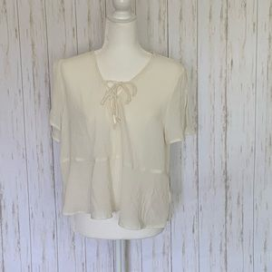 Kimchi Blue Lucy Off White Lace Up Blouse NWT
